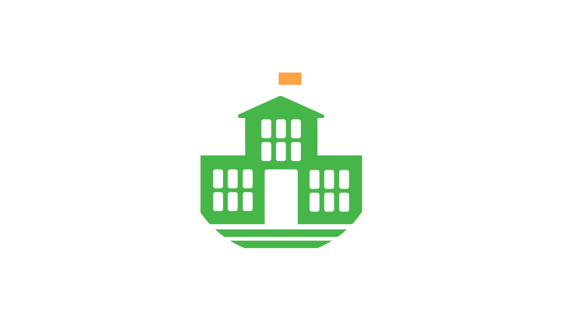 illustration of a schoolhouse with arrows radiating outwards from it