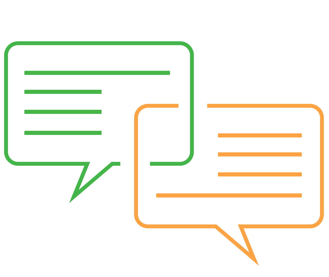 illustration of two speech bubbles representing communication